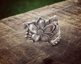 Columbine Floral Sterling Spoon Ring