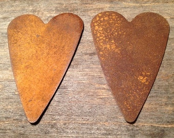 """3"""" Rusty Tin Heart. Package of two (2). Tin Hearts. Rusty Tin. Metal Hearts. Rusty Metal Heart. Rusty Heart. Rusty Tin Embellishments."""