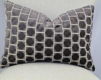 Designer geometric cut velvet,pillow cover,accent pillow,throw pillow,lumbar pillow.
