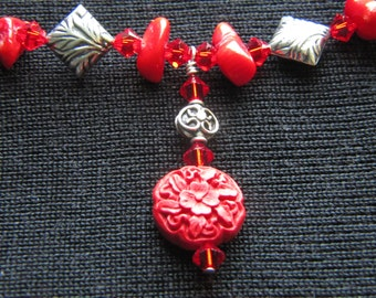Coral, Cinnabar, and Sterling Silver Beaded Necklace