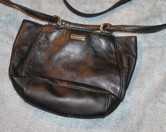 Vintage Liz Claiborne Purse, Handbag, Bag, Made of Leather by the Leather Company Long Handle, Brass Fittings, One or Two Handles, Strap