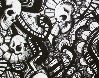 Skull Fabric, The Catacombs in Black and White, Alexander Henry, Skullduggery, By the Yard