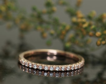 French Pavé Diamond Wedding Band in 14k Rose Gold, 1.6mm Wide, 0.16ctw, 1/2 Eternity, Thin Diamond Band, Diamond Stacking Band, Heather Lily