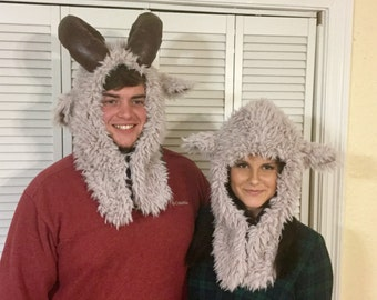 Ram hood and Lamb hood faux fur animal hat with closure, pockets and flannel plaid lining