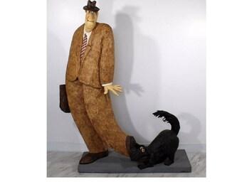 Contemporary Paper Mache Sculpture Statue Man & Dog Signed Dated Stephen Hansen