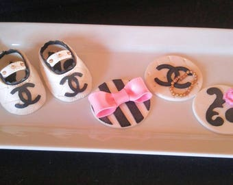 Black and white Baby Shower 1 pair Booties and 12 cupcake toppers