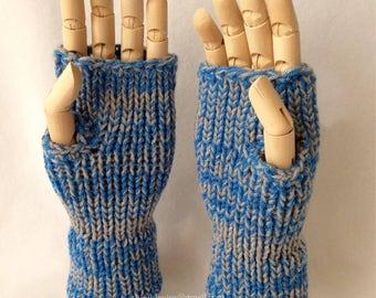 Stone Blue Fingerless Gloves
