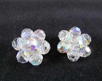 Vintage Aurora Borealis Crystal Bead Cluster Ear Clips / Clip-On Earrings / Vintage Ladies Fashion / Vintage Accessories / Costume Jewelry