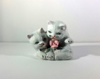 Vintage Cat Figurine, Grey and White Cat, Hand Painted Porcelain