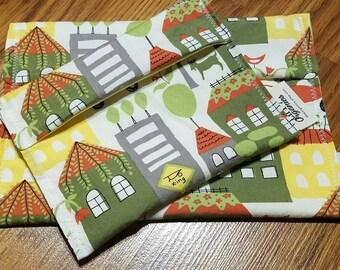 LINED reusable sandwich and snack bag set - eco friendly sandwich wrap - kids lunch - reusable bags - sandwich bag - snack bag -gift idea