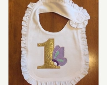 Lavender, Mint, and Gold Butterfly Birthday Bib