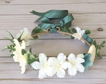 Beach Wedding Flower Girl Flower Crown, Mermaid Flower Crown, Mermaid Photo Shoot,  Destination Wedding Flower Girl, Teal Boho Flower Girl
