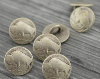 "BUFFALO Nickel Metal Buttons 3/8"" Antique Silver, Nickel Reproduction Tiny Shank Back Button, Qty 4 or 8, Buffalo Head 11mm"