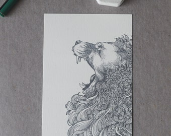 Lion Drawing, Lion Postcard, Lion Illustration, Roaring Lion Drawing, Lion Print, Detailed Lion, Lion  Art, Illustration, A6 print