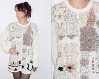 Vintage 1980's Cream Brown Green Flower EMBROIDERY OVERSIZED SLOUCH Bobble Jumper Size Medium