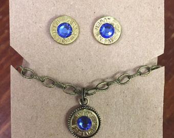 9mm bullet ammo jewelry birthstone necklace earrings September Sapphire Birthstone