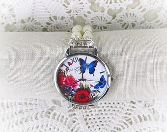 Wrist watch quartz watch bracelet ladies watch beads Crystal Rondelles Butterfly