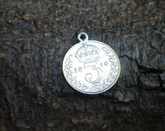 Vintage Sterling Silver Three Pence Coin Necklace Pendant