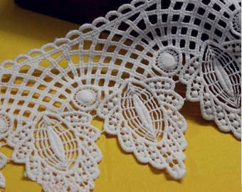 2 yards Lace Trim Ivory Venice Alice Exquisite Flower Embroidery Wedding Trim 4.72 inch width