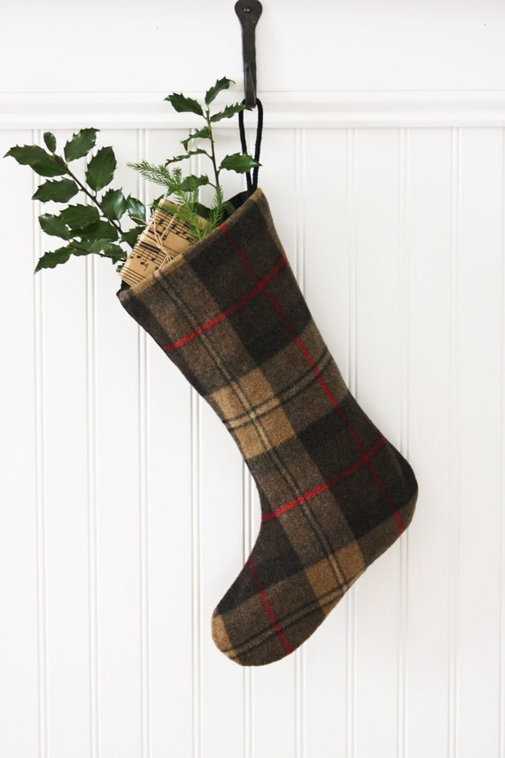 Brown Plaid Wool Christmas Stocking, Cocoa, Chocolate, Tartan, New England, Scottish, Holiday, Lumberjack, Woodsy, Mountains, Lodge, Preppy
