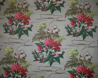 Vintage 1950's Tropical Barkcloth Drapery Panel - 1950's Tropical Floral Fabric - Cool 50's Barkcloth Drapery Panel - Flowers Grey Barkcloth