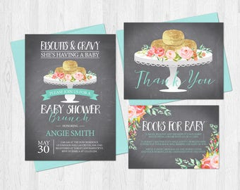 Biscuits and Gravy Baby Shower Invitation Set with Book Request Card and Thank You Card Rustic Chalkboard Floral Southern Blue