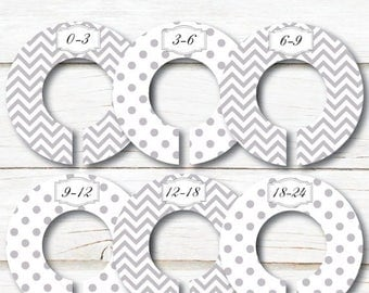 Baby Closet Dividers, Closet Organizers, Girl Boy closet dividers, Baby shower gift, Grey White chevron dots, Kids Clothes dividers,  C100