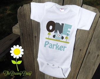 Personalized 1st Birthday Baby Bodysuit for Boys - Blue Owl First Birthday Infant Creeper - Baby Boy Personalized Bodysuit or T-Shirt
