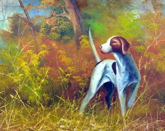 Old Vintage Oil Painting on Canvas Hunting Dog Pointer Wooded Landscape Framed