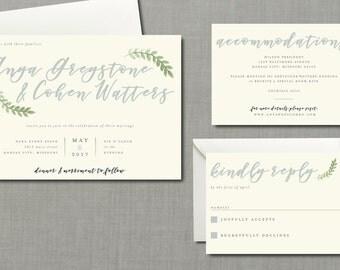 Calligraphy Botanical Wedding Suite // DIY PRINTABLE Invite & RSVP // Botanical Wedding, Greenery Wedding, Calligraphy Invitation