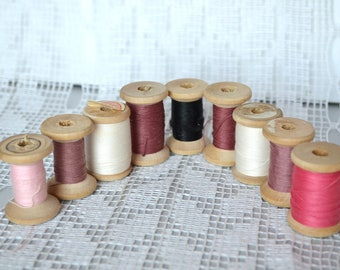 Lot of 9 Sewing Thread Spools, Wood Wooden Spool, Misc Colors, vintageWooden Thread, cotton, pink white