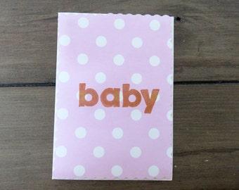Handmade card - baby pink - baby shower christening birthday girl