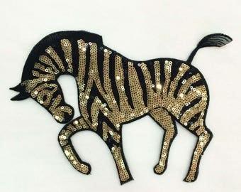 Sequin Patch Golden Zebra Patch Applique Large Patches 061