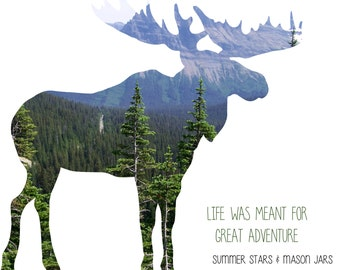 The Wilderness Inside - Moose Silhouette with Photo Print - Typography Art Illustration/Graphic Design Poster