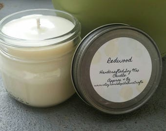 Redwood Soy Candle - 4 oz Jar Candle - Forest Candle  - Woods Candle - Mason Jar Candle - Hand Poured Candle - Outdoors Candle - Party Favor