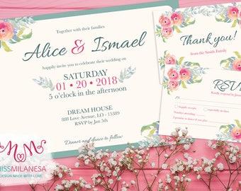 Roses wedding set, Wedding Set, Wedding kit, Wedding invitation, rsvp card, thank you card