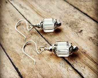 3-d  vintage Swarovski prism crystal cube earrings-vintage Swarovski earrings-sterling earrings-cube crystal earrings-vintage crystal