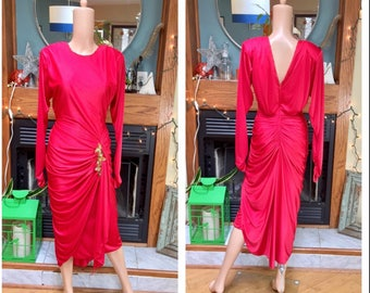 Vintage 80s Dynasty Red Satin Clingy Glam Sequins Beaded Dynasty Trophy Dress S