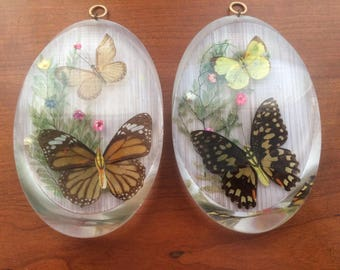 1970s Pair of Lucite Resin Butterfly Plaques
