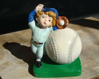 Vintage Piggy Bank Coin Savings Bank Baseball Player Base Ball Lovers Sears And Roebuck And Company Hand Painted Ceramic Bank #38