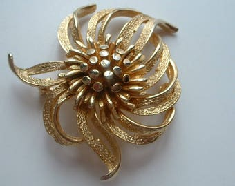 Large modernist abstract flower brooch