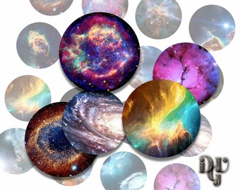 "NEBULA Digital Collage Sheets - GALAXIES Cabochon - UNIVERSE Bottle Cap 1 inch 1"", 1.25"", 1.5"" 30, 20 mm Circles round pendants Cosmos C025"