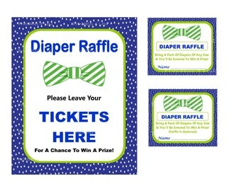 Bow Tie Diaper Raffle Ticket, Bowtie Baby Raffle, Bow Tie Baby Shower Raffle, Diaper Raffle Sign, Bowtie Diaper Card -Printables 4 Less 0008