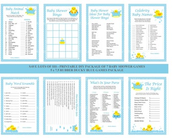 Blue Rubber Ducky Baby Shower Game, Printable Rubber Duck Baby Shower Game, DIY Duck Shower Games, Rubber Ducky Games - Printables 4 Less