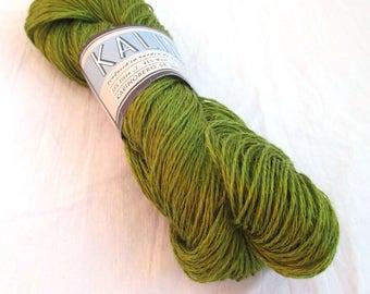 Linen and wool yarn, 350 m / 100 g, 100 g, lime green, flax / wool yarn, Kalinka 21, Made in Sweden, knitting or crochet yarn, unusual blend