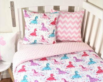 Purple, aqua and pink unicorn nursery set items (pink minky quilt backing)