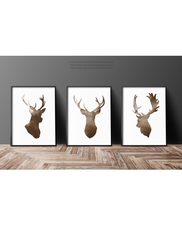 Deer Head Silhouette Set Of 3 Brown Antlers Print Stag