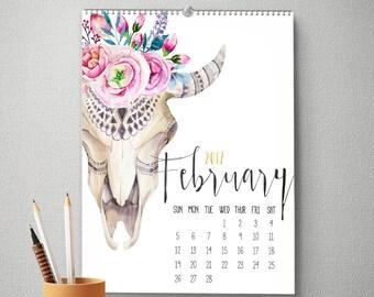 2017 Wall Calendar, 11x14, Wall Calendar, Boho Gifts for Her  (cal0012)