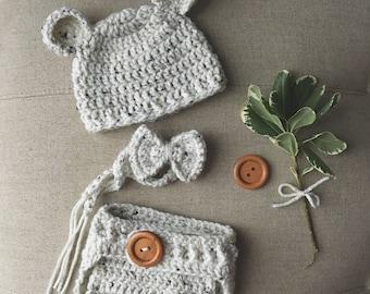 Newborn Boy Bear Set Crochet Baby Bear Set, Newborn Boy Photo Prop Baby Boy Set, Newborn Boy Coming Home Outfit, Made To Order