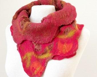 Silk Wool Collar, Cowl Neckwarmer Scarf, Orange Pink Scarflette, Nuno Felted Scarf, Unique Handmade Wearable Fiber Art Scarf